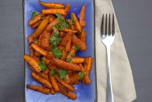 Moroccan spiced carrot salad with harissa, cumin & maple syrup
