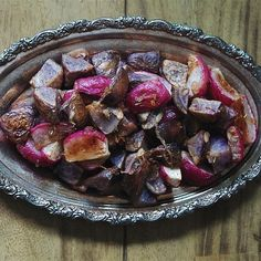 ROASTED RADISHES & POTATOES W/ CINNAMON & SHALLOTS