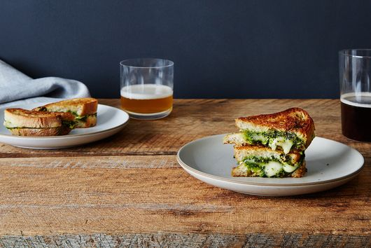 Grilled Brie Sandwiches with Honey, Pistachio & Kale Pesto
