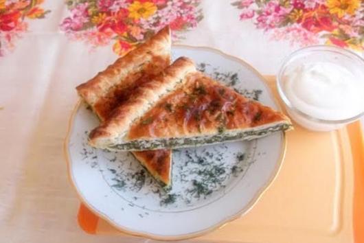 Spicy Swiss Chard and Feta Cheese Pie in Yogurt Pastry Dough