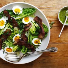 Romaine Salad with Bacon, 5-Minute Eggs, and Pesto Dressing