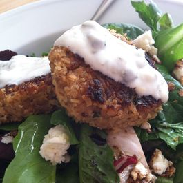 Salmon Cakes with Lemon Caper Yogurt Sauce