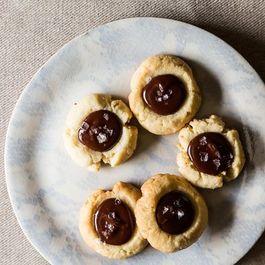 Almond Thumbprint Cookies with Dark Chocolate and Sea Salt