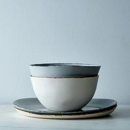 Porcelain Gold-Rimmed Serveware