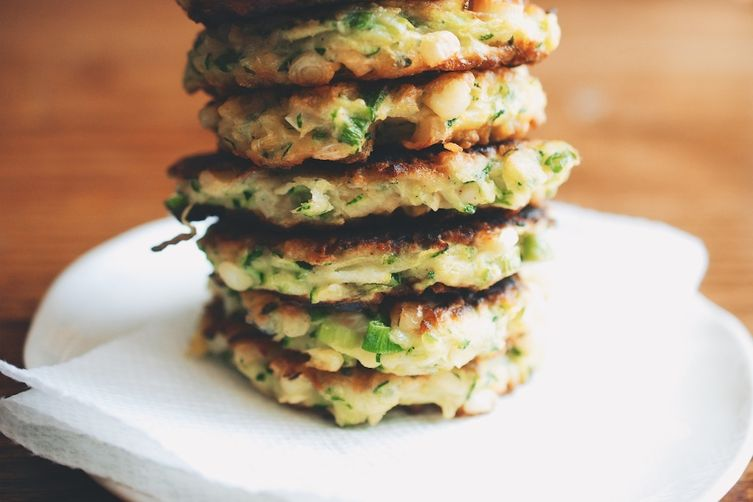 Zucchini-Corn Fritters with Spicy Yogurt Dipping Sauce