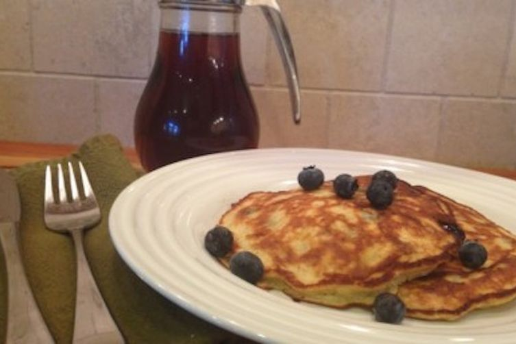 Banana Blueberry Protein Pancakes