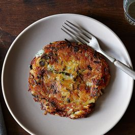 Scallion Potato Pancakes with Vinegar Cream