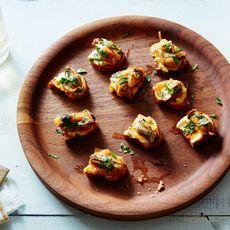 Mussels Escabeche Crostini with Sunchoke Purée