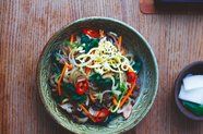 Beef & Vegetables with Sesame Glass Noodles (Japchae)