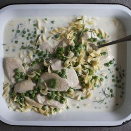 Milk-Poached Chicken with Tarragon and Peas