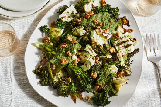 Grilled Broccolini Salad With Basil-Walnut Vinaigrette