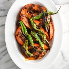 Braised Kuri Squash with Shishito peppers