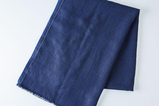 Indigo Linen Throw with Monogram Option