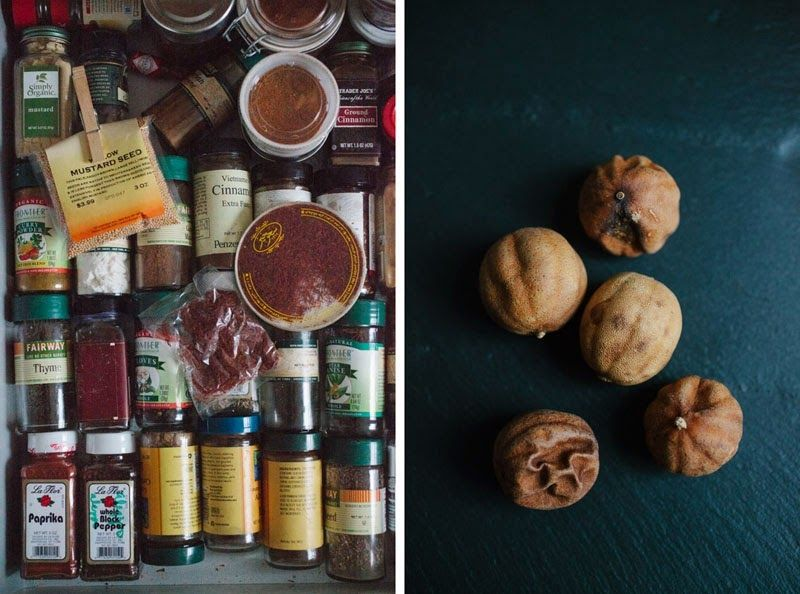 Left: Yossy's spice drawer! / Right: Dried Persian limes, a pantry staple.