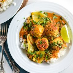 Thai Meatballs with Red Curry Coconut Sauce