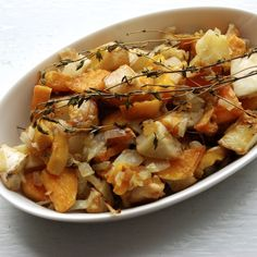 Thyme and Duck Roasted Sweet Potatoes and Celery Root
