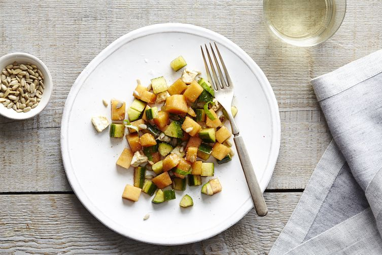 Cantaloupe & Cucumber Salad with Basil & Feta