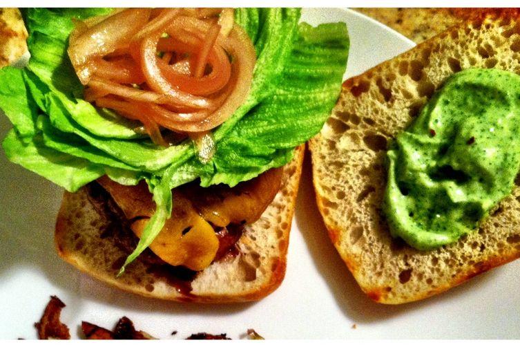 Honey Habanero Aioli Burgers with Pickled Onions