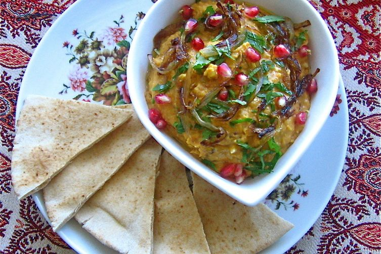 Butternut Squash Dip with Pomegranate Molasses, Feta, and Caramelized Shallots