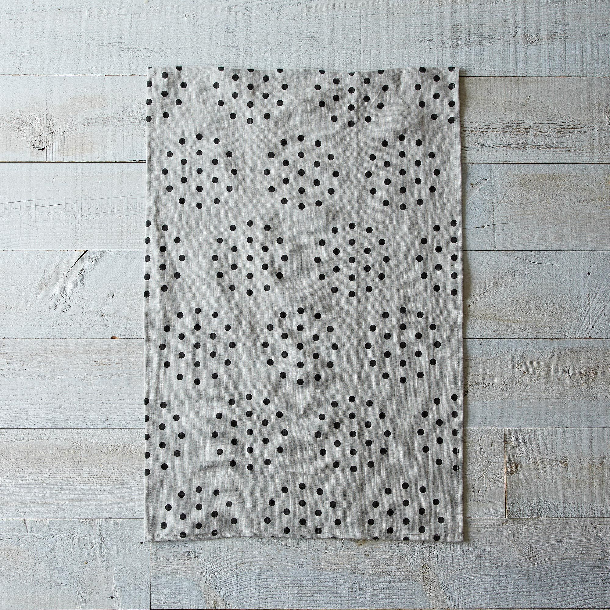 Colander Tea Towel - Noir on Oatmeal Linen