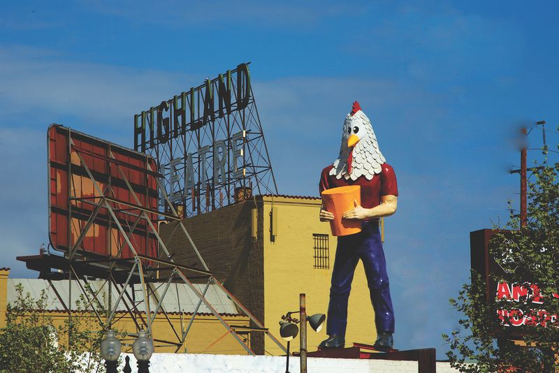 Chicken Boy atop his new home, Future Studios, in Los Angeles.