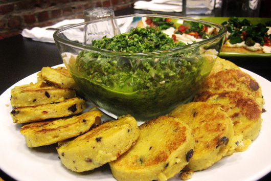 Grilled Polenta with Ramp Chimichurri