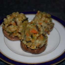 Wild Rice, Barley, and Zuchinni  Stuffed Mushrooms