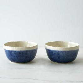 Blue Porcelain Soup Bowls (Set of 2)