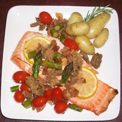 Grilled WIld Salmon with Farmer's Market Vegetables