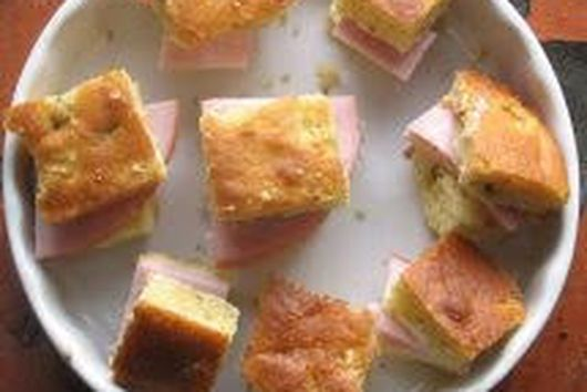 Mini Chile Cheese Cornbreads with Sweet Butter and Ham