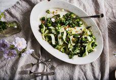 Dinner Tonight: Shaved Broccoli Stalk Salad with Soft Feta & Golden Raisins