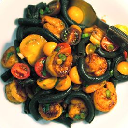 Cuttlefish Spaccatelli with Shrimp, Fresh Tomatoes, Green Onions and Chili