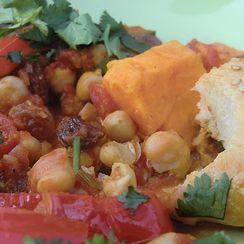Moroccan Tajine with Sweet Potato, Chickpeas and Eggplant