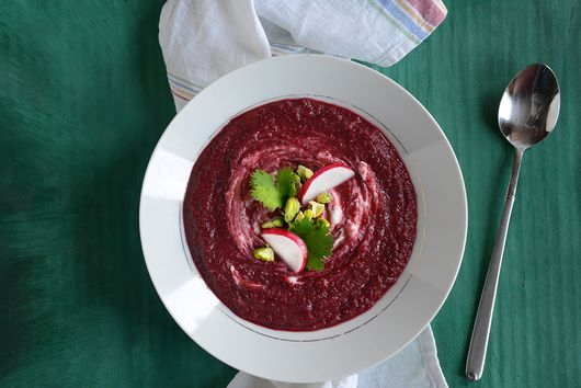 Creamy Coconut & Roasted Beet Soup with Pistachios & Greek Yogurt
