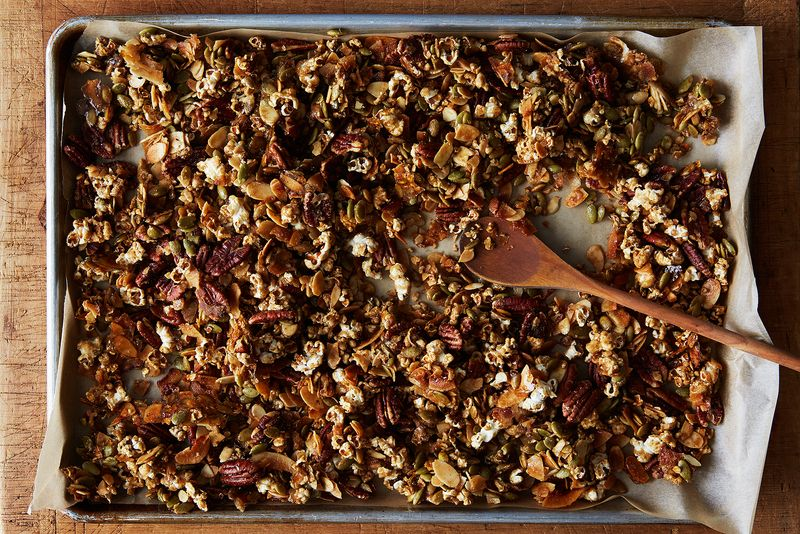 Popcorn granola, in which raw oats are replaced entirely with popped popcorn.