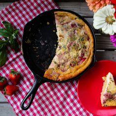 Strawberry-Basil Skillet Quinoa Cornbread