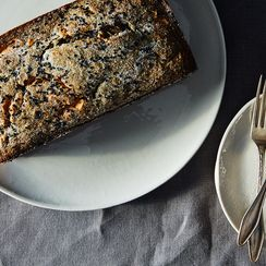 Black Sesame Banana Cake with Peanut Butter