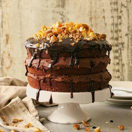 Vegan Chocolate Nut Brittle Cake