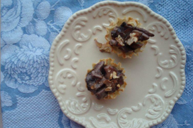 Hot Mushroom, Toasted Walnut, and Camembert Filo Tartlets