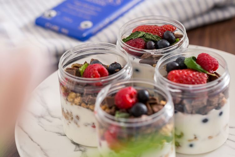 Yogurt, Mixed Berries and Dark Chocolate Parfait