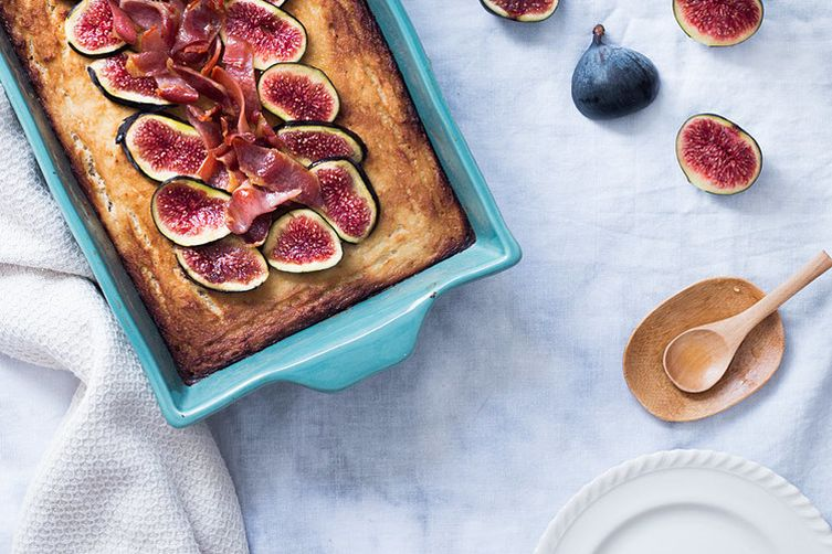 Cauliflower cake with maple-glazed bacon and figs