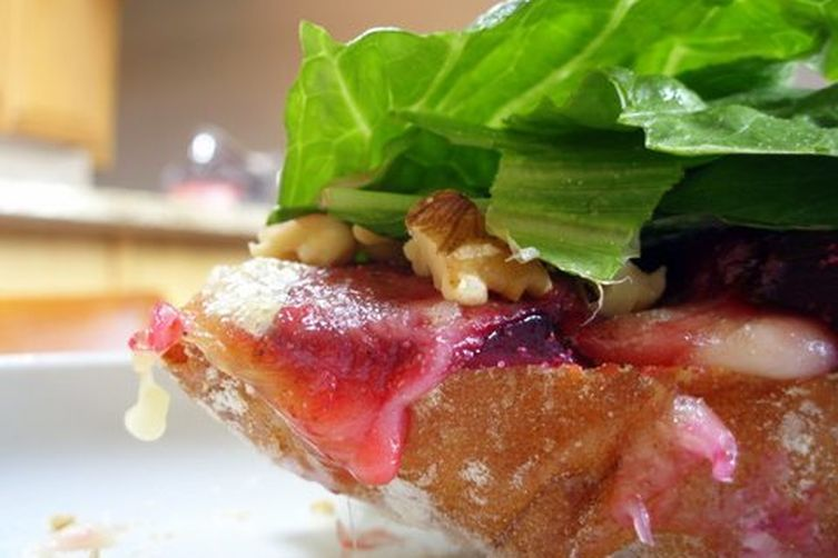 Roasted beet and brie sandwich