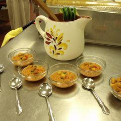 Corn Gazpacho with Fiery Croutons