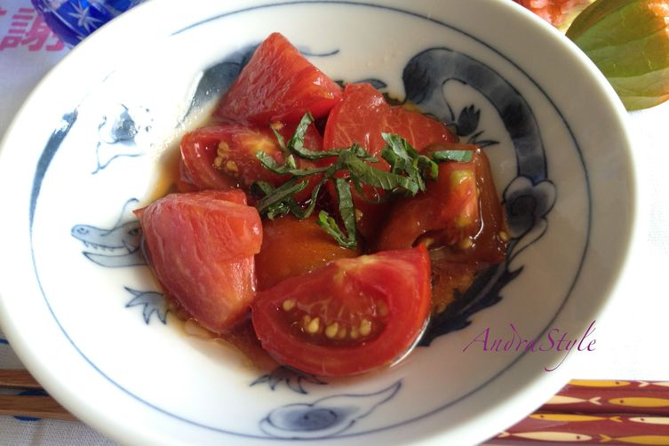 Tomato in Chilled Soy Sauce Marinade with Shiso