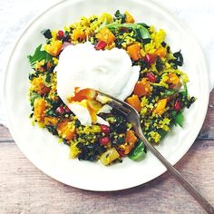 Winter Curry Breakfast Salad with Roasted Butternut Squash