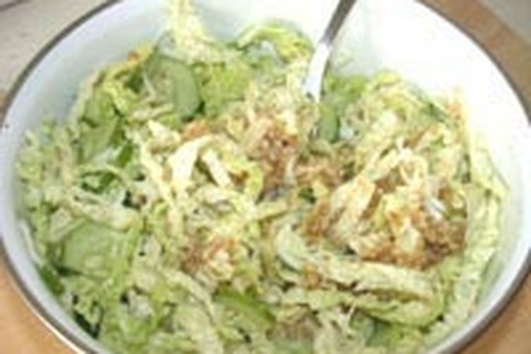 Savoy Cabbage and Celery Root Salad with Walnut Vinaigrette.