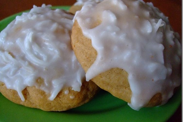 Soft & Pillowy Coconut Frosted Cookies