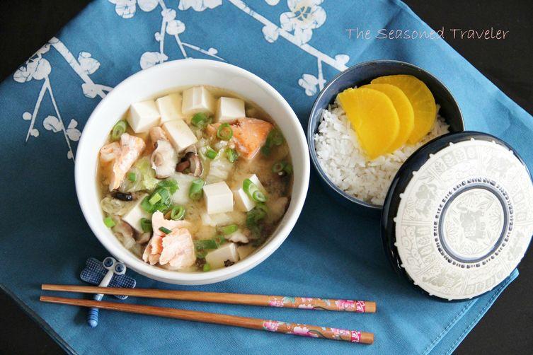 Simple Miso Soup with Salmon, Tofu, Mushrooms & Napa Cabbage Recipe on ...