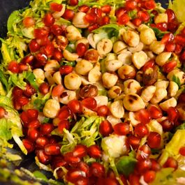 Shaved Brussels Sprout, Pomegranate and Toasted Hazelnut Salad