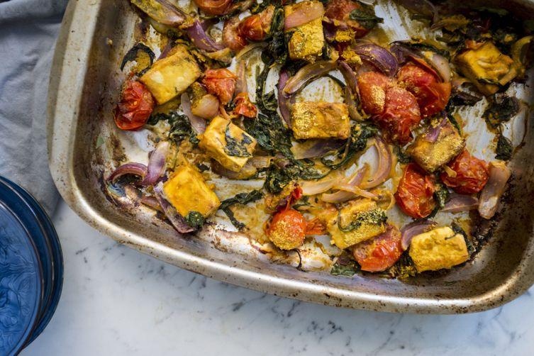 Vegan summer palak paneer | Easy sheet pan dinner